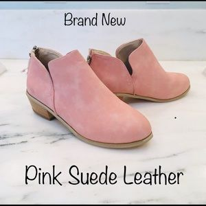 Shoes - Pink LEATHER SUEDE BOOTIES SHOES New